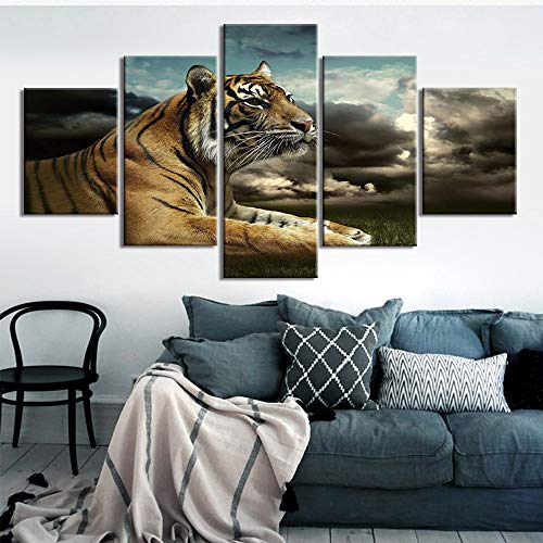 Modular Canvas Painting Home Decor 5 Pieces/pcs Animal Pictures Modern Printed Tiger Poster for Living Room