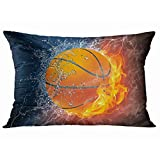 Tarolo Decorative Pillow Cover Case Ice and Fire Flaming Basketball Fire and Water Throw Pillow Cases Covers Home Decor Bedding Water and Flame Pillowcase 20x30 Inches Two Sided Print Pillowcases