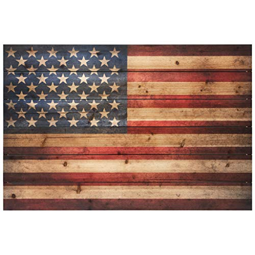 Empire Art Direct American Flag Digital Print on Solid Wood Wall Art, 24