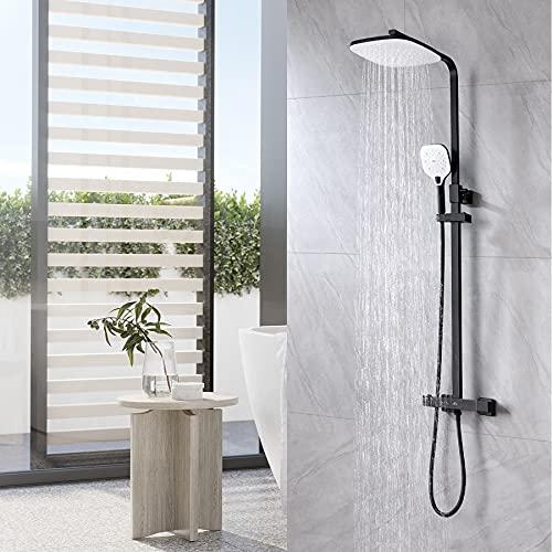 Auralum Columna de ducha Negra Termostática 38°C, Set de ducha con grifo, Sistema de ducha con 25 * 20 CM Alcachofa Ducha Lluvia y 3 Funciones Ducha de Mano, Barra Altura Ajustable