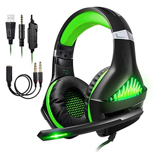 ShinePick Micro Casque Gaming PS4, Casque PC Ultra-Léger Stéréo Bass Anti-Bruit LED lumière avec 3.5mm Connecteur Compatible Xbox One Laptop Tablette et Smartphone (Vert)