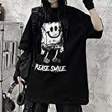 KAL'ANWEI Camiseta Mujeres Hombres Gótico Top Fairy Grunge Harajuku Dark Academia Anestética Anime Alt EMO Ropa De Verano Suelta-Negro_L