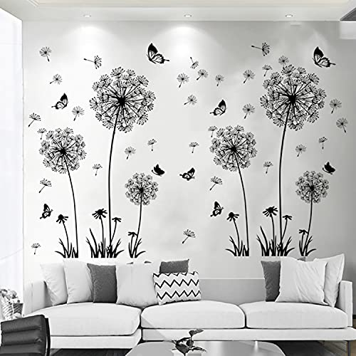 Arawat Dandelion Wall Decals Stickers for Bedroom Wall Stickers & Murals Living Room Floral Wall...