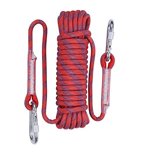 QIANGSHENG 多目的ロープ 太さ: 10mm 長さ: 20m 50m 耐荷重1000�s 収納袋セット アウトドア キャンプ 防災 (レッド 50m)