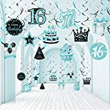 30 Decoraciones de Remolino Colgante de Cumpleaños Número 16, Decoración de Techo de Re...