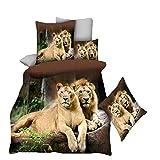 No-branded 3D Sistemas del lecho de la Reina Tamaño Brown León Cubierta del Duvet de la Hoja Plana Reina Poliéster 2 Pillowcases1 Funda nórdica WWXWXEU (Color : Lion, Size : 4pcs)