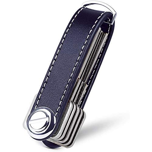 flintronic Organizador de Llaves | Llavero de Cuero Genuino | Titular de la Llave de Bolsillo Inteligente con un Elegante Estuche para Regalo (Sostiene Entre 7 y 9 Teclas Múltiples) - Azul