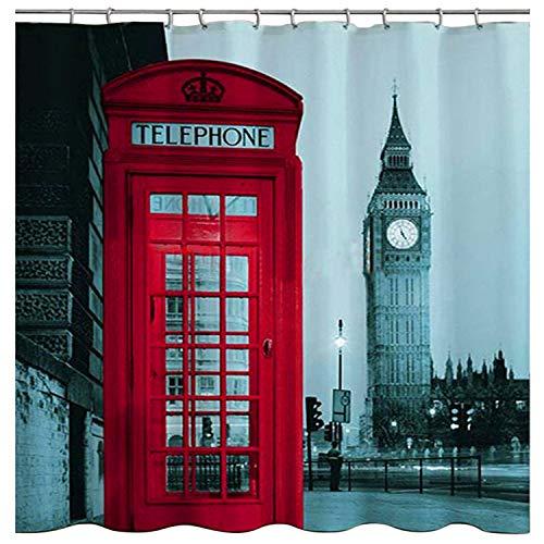 WoneNice Berühmte Stadt Muster Big Ben Stoff Duschvorhang Liner, 182,9x 182,9cm
