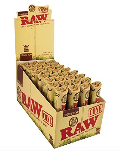 192 Raw Organic Cones Pre-Rolled Rolling Papers (Full Case), Raw Organic Natural Unrefined Cones Rolling Paper 1.25 Size, 32 Pack of 6 Cones + Beamer Smoke Limited Edition Sticker