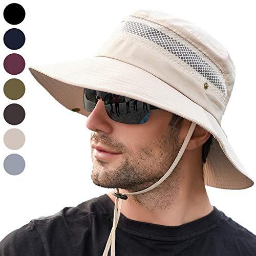 anaoo Sombrero Hombre Gorra de Verano Sombrero Pesca del Sol Gorra al Aire Libre Sombrero Playa Hombre Plegable De ala Ancha Protección UV, Color Beige