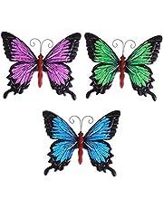 Hemoton 3 stuks vlinders decoratie metalen vlinder muurkunst wandversiering tuindecoratie muurschildering tuinfiguur dierfiguren voor verjaardag bruiloft kerstfeest feest wanddecoratie gemengde kleur