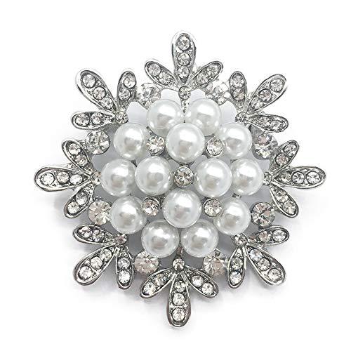SIYWINA Broschen für Kleidung Brosche Hochzeit perlen Brosche Blume Strass Brosche Schmuck