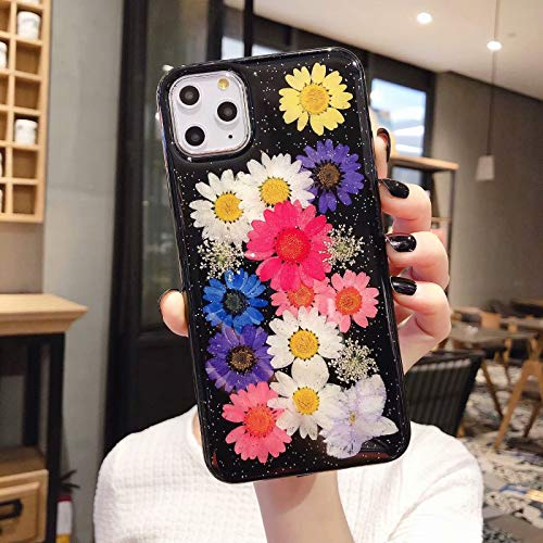 Tybaker iPhone 11 Hülle HandyHülle Blume iPhone 11 Handyhüllen Kristall Echt Getrocknete Blumen Schutzhülle Silikon Rückschale Handgefertigten Bumper Case Cover für Apple iPhone 11 (6,1''), F1