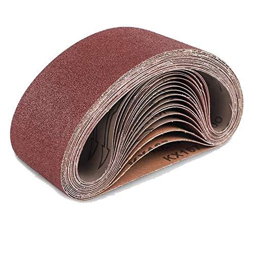 Remebe Lijadora de banda, 75 x 533 mm Bandas de lijado Papel de lijadora de banda 40,60,80,120,180 Granos Banda de lijado de tela/tela Granos surtidos 10PCS