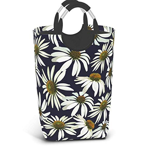 IUBBKI Washday Laundry Hamper Basket, Chrysanthemums Flowers College Dorm Hampers - Durable Handles for Easy Carry, Fold.