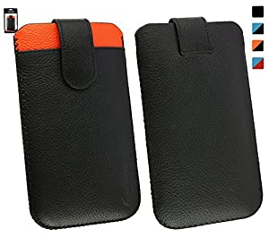 Emartbuy® Huawei SnapTo/Huawei G620 Genuine Calfskin Leather Black/Orange Slide in Pouch Case Cover Sleeve (Size 4XL) with Credit Card Slot & Pull Tab Mechanism