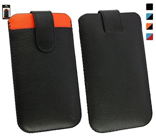 Emartbuy® Allview V2 Viper Xe Echtes Schwarz/Orange Kalbsleder Slide in Hülle Tasche Sleeve (Größe LM4) mit Kreditkarte Schlitz und Zuglasche Mechanismus