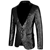 MAGE MALE Men's Shiny Sequins Suit Jacket Blazer One Button Tuxedo for Party,Wedding,Banquet,Prom Black