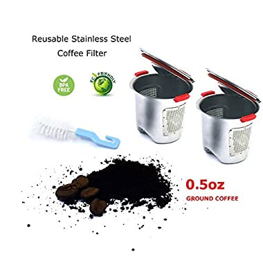 Okcafe New Stainless Steel Reusable K-Cups Refillable K-Cup Coffee Filters for Keurig Brewers 1.0 and 2.0 - for K200, K300, K400, K500 - BPA-Free, Dishwasher Safe, 2 Piece