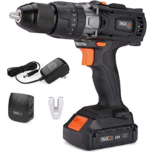 TACKLIFE Cordless Drill Driver,18V 2.0Ah Combi Drill Sets with LED Light, 2 Speed 16+3 Torque Hammer Drill,35N.m Electric Screwdriver 1/2' Metal Chuck Impact Drill Include Li-Lon Battery and Charger
