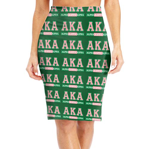 Alp-ha-Kap-p-a-A-lpha L Womens Stretchy Slim Bodycon Skirt Elastic Waist Pencil Skirt