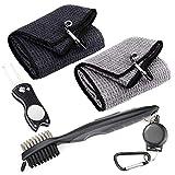 Favritt Microfiber Waffle Pattern Tri-fold Golf Towel Set 2 Golf Towel (Black/Gray)  Foldable Divot Tool with Magnetic Ball Marker  Golf Club Brush(4 Pack)