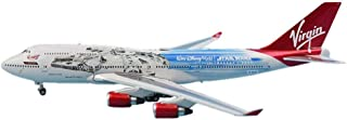 飛行機モデルダイキャスト飛行機合金モデル、1/400旅客機B747-400ヴァージンアトランティック飛行機モデル、大人のおもちゃと装飾、7インチX6.3インチ