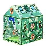 Homcom Tente Enfant Tente de Jeu Tente Militaire dim. 93L x 69l x 103H cm 2 Portes Polyester Vert