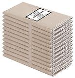 Baumwolle-Klinik 12 Servilletas de Tela 50 x 50 cm, Lavable Servilletas de 100% Algodón, Calidad de Hotel Duradera, para Boda, Eventos y Uso Doméstico Regular Beige