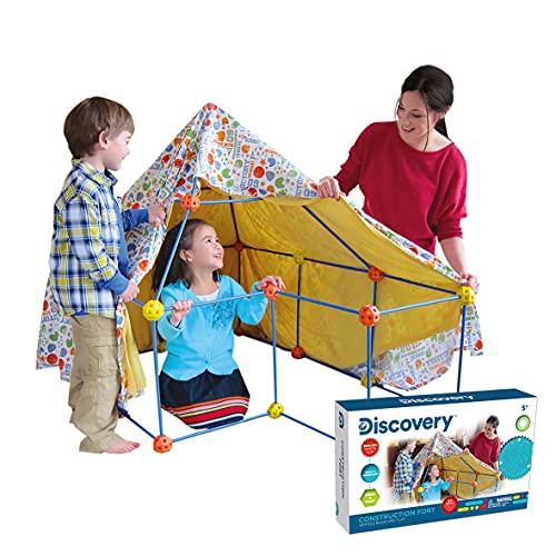 Discovery- Construye tu cabaña, Construction Fort,Tienda campaña Infantil, Casitas para niños, Casa Juguete, Color Azul, Naranja y Amarillo (6000105)