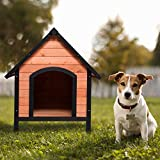 Tangkula Dog House, Wooden Pet Kennel, Outdoor Weather Waterproof Pet House, Natural Wooden Dog House Home with Reddish Brown Roof, Pet Dog House (Small, Natural Wood)