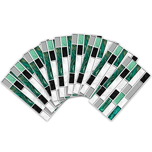 Leileixiao 27 pegatinas autoadhesivas de PVC para pared, 20 x 10 cm, ágata verde, ladrillos de mármol, autoadhesivas, para baño, cocina, azulejos y escaleras (color: 27 piezas, tamaño: 20 x 10 cm)