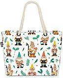 VOID Gartenzwerge Zwerge Pflanzen Strandtasche Shopper 58x38x16cm 23L XXL Einkaufstasche Tasche Reisetasche Beach Bag