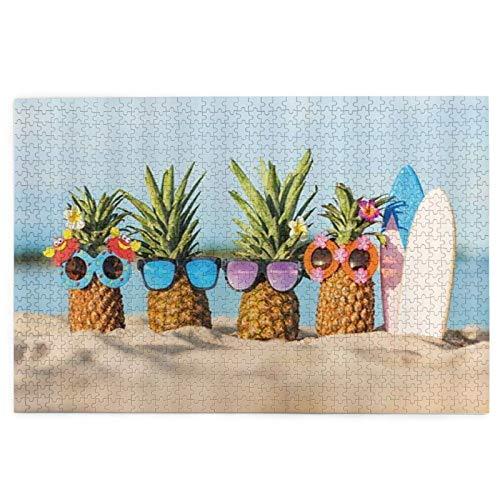 Rompecabezas de 1000 piezas para adultos – 27 pulgadas x 19 pulgadas verano playa paisaje hippie piña usando gafas de sol Home Puzzle juegos educativos