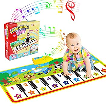 WOSTOO Piano Mat Musical Piano Mat Keyboard Play Mat Portable Musical Blanket Instrument Toy with 8 Animal Sounds Dance Mat Educational Toy Gift for Kids Toddler Girls Boys
