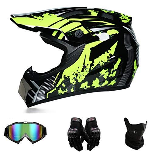 AMCYT Motocross Helmet/Motorrad Crosshelm,Jugend- & Kinderhelm für Dirtbike ATV Motocross,Fahrrad Roller Downhill Integral Helm,Schwarz Grün (L)
