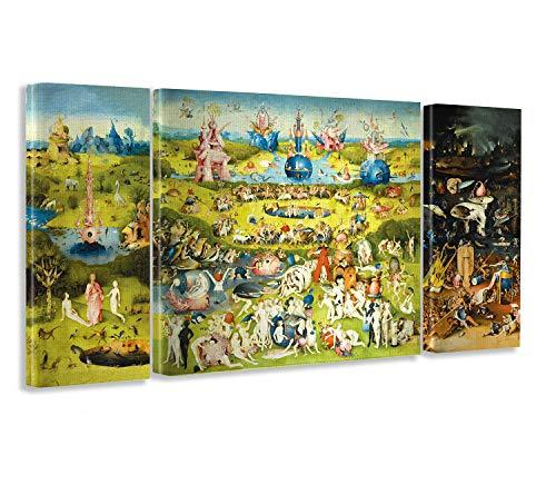 Giallobus Cuadro de Paneles múltiples en 3 Piezas - El Jardin de Las delicias - impresión en Lienzo - Listo para Colgar - 40x100 cm - 100x100 cm - 40x100 cm
