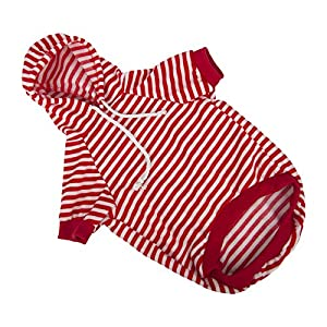 Dog Hoodie Pet Sweatshirt Clothes Doggie Sweater Pajamas with Hat Striped Red M