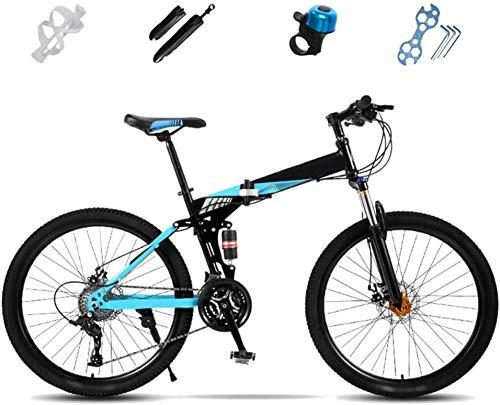 Bicicleta de montaña plegable de 27 velocidades de suspensión completa de 24 pulgadas, bicicleta de montaña todoterreno, unisex, plegable, freno de disco doble