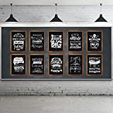 10 Pieces Motivational Classroom Posters Industrial Chic Bulletin Board Poster Laminated Inspirational Quotes Positive Poster for School Office Home Wall Art Decoration, 12 x 16 Inch, Black