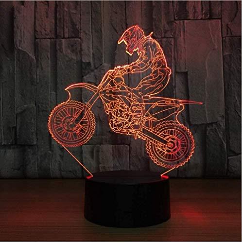 Lámpara de ilusión 3D Lámpara LED de ilusión Motocross Bicicleta Luces nocturnas Novedad Mesa USB 7 colores Sensor Escritorio táctil como premios navideños Regalos para deportes Chico Lámpara Cómoda