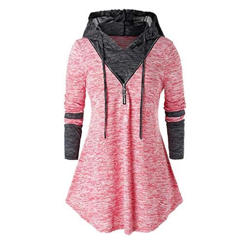 GOKOMO T-Shirt mit großem, langärmligem, durchgefärbtem Kapuzenreißverschluss und KontrastnähtenDamen Plus Size Space Dyeing Langarm-Tunika mit Kapuze Tops T-Shirt Bluse(Rosa,XX-Large)