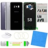 Galaxy S8 Back Cover Glass Replacement with Pre-Installed Camera Lens + All The Adhesive + Installation Manual + Repair Tool Kit for Samsung Galaxy S8 SM-G950 All Carriers (Midnight Black)