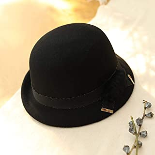 YANGBM Ms. Wool Hat Child, British Retro Hat, Bucket Hats, Warm Autumn and Winter Hats, Adjustable Strap Invisible, Breathable and Lightweight Fashion (Color : Black)