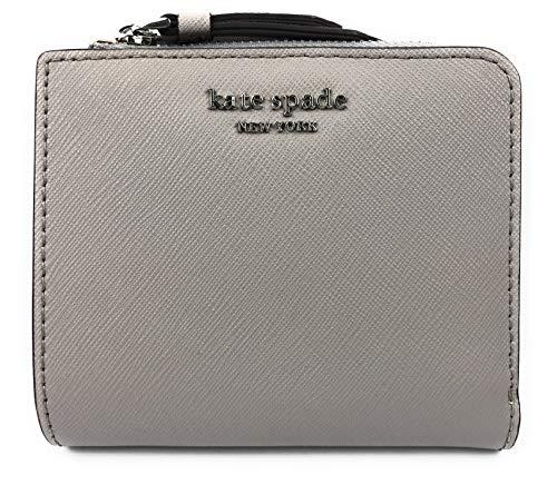 Kate Spade New York - Portafoglio in pelle Saffiano con cerniera a L, piccolo, colore: grigio talpa