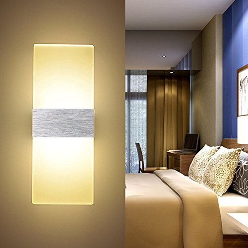 ERWEY 12W LED Wandleuchte Acryl Wandlampe Warmweiß Modern Design Nachttischlampe Home Corner Dekorative Beleuchtung Ideal Für Schlafzimmer Wohnzimmer Treppe Flur und Eingang