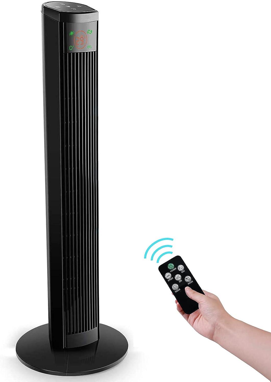 Ventilador de Torre con Control Remoto - 96 cm Ventilador de Pie, 45W Ventilador Vertical con 4 Velocidades y 3 Modos, Pantalla LED & Panel Táctil, Oscilante 60° silencioso, Temporizador 12H, Negr