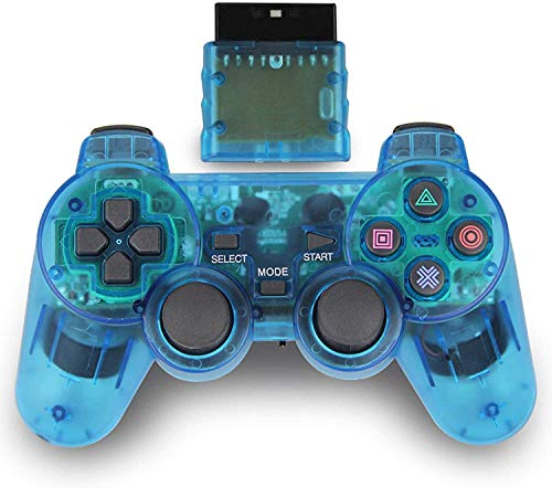 Wireless Controller for PS2, 2.4G Dual Vibration Game Controller Remote for Playstation 2 PS2