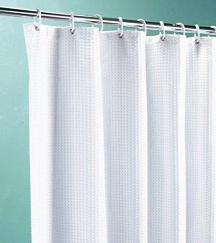 Euroshowers weiß Waffel Stoff Duschvorhang mit gewichtetem Saum, verschiedene Größen erhältlich, weiß, 250 CM WIDE X 200 CM LONG