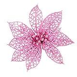 WINOMO Flores de árbol de Navidad Colgantes navidad adornos decoración de árbol de Navidad (Rosa) - 10 Piezas